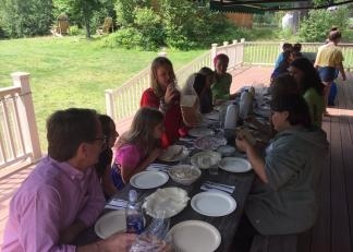 Commissioner Edelblut joins students for lunch at Copper Cannon Camp in Bethlehem.